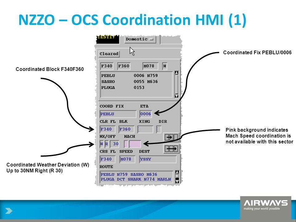 NZZO – OCS Coordination HMI (1) Coordinated Fix PEBLU/0006 Coordinated Block F340F360 Coordinated Weather Deviation (W) Up to 30NM Right (R 30) Pink b