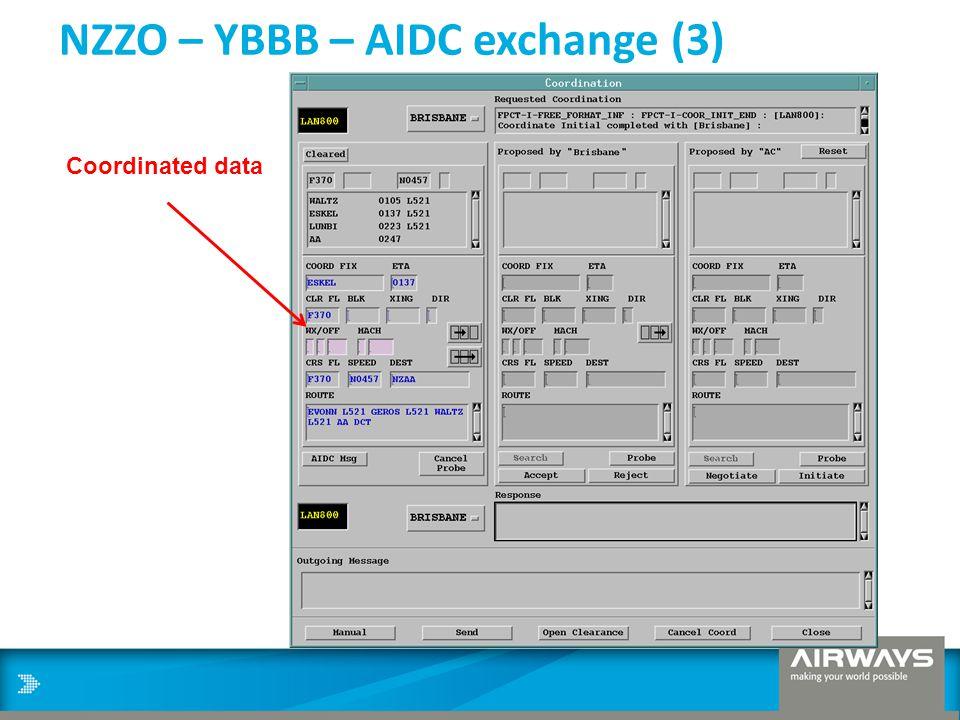 NZZO – YBBB – AIDC exchange (3) Coordinated data