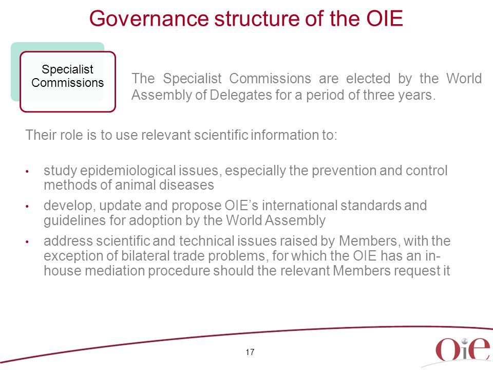 Governance structure of the OIE 17 Specialist Commissions Their role is to use relevant scientific information to: study epidemiological issues, especially the prevention and control methods of animal diseases develop, update and propose OIE's international standards and guidelines for adoption by the World Assembly address scientific and technical issues raised by Members, with the exception of bilateral trade problems, for which the OIE has an in- house mediation procedure should the relevant Members request it The Specialist Commissions are elected by the World Assembly of Delegates for a period of three years.