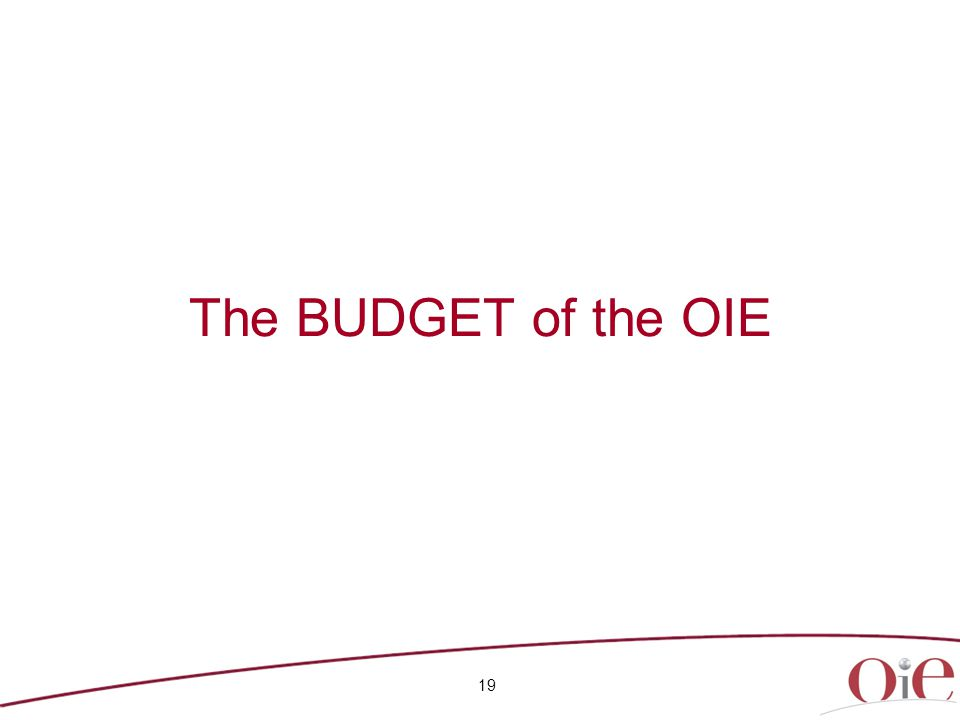 The BUDGET of the OIE 19