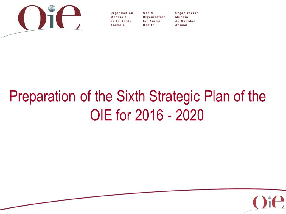 Preparation of the Sixth Strategic Plan of the OIE for 2016 - 2020