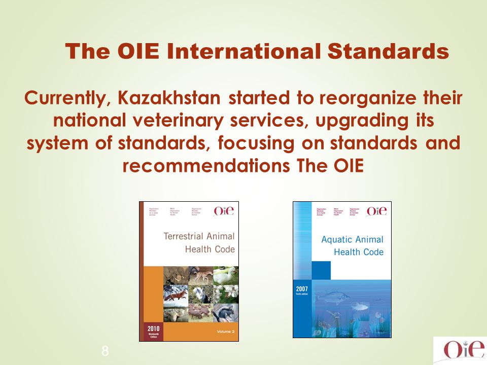 8 The OIE International Standards Currently, Kazakhstan started to reorganize their national veterinary services, upgrading its system of standards, focusing on standards and recommendations The OIE