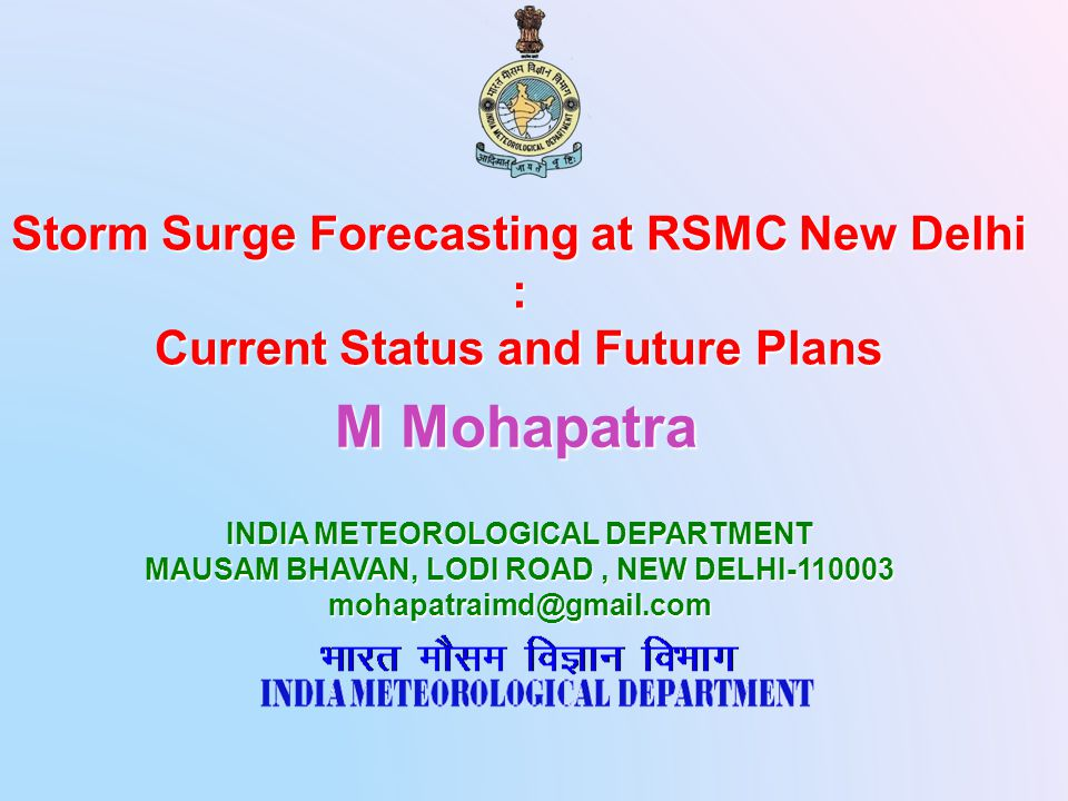 Presentation layout  Introduction  Storm Surge and coastal inundation Monitoring and Prediction  Storm surge and coastal inundation warning services  Problem areas and Prospects  Conclusions