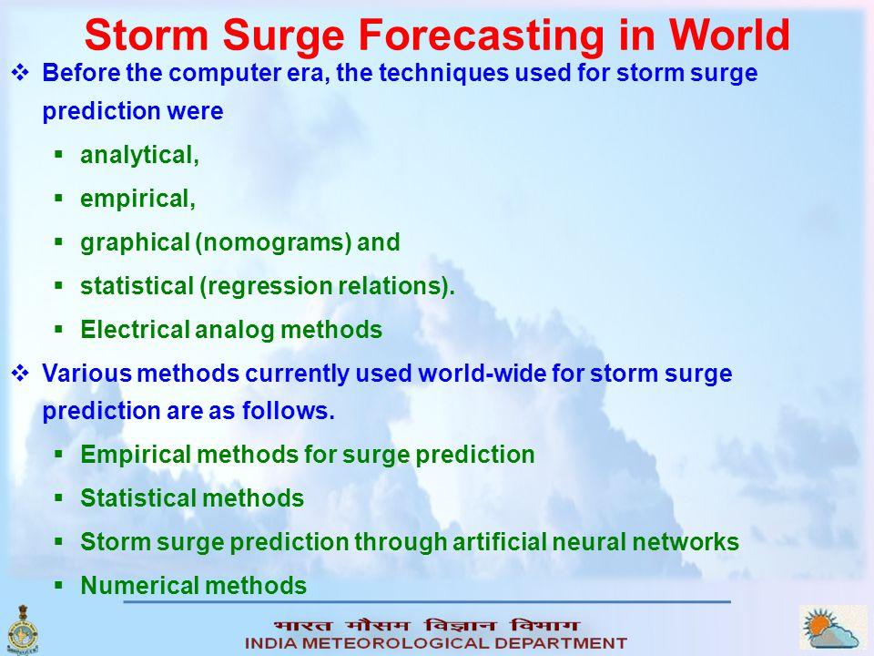 Storm Surge Forecasting in World