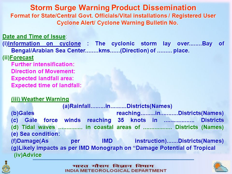 Storm Surge Warning Product Dissemination Format for State/Central Govt.