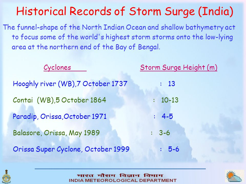 Observational data on storm surges  As part of the Indian Tsunami Early Warning System, a real time network of Tide gauges has been established by Survey of India (SOI) and National Institute of Ocean Technology (NIOT).