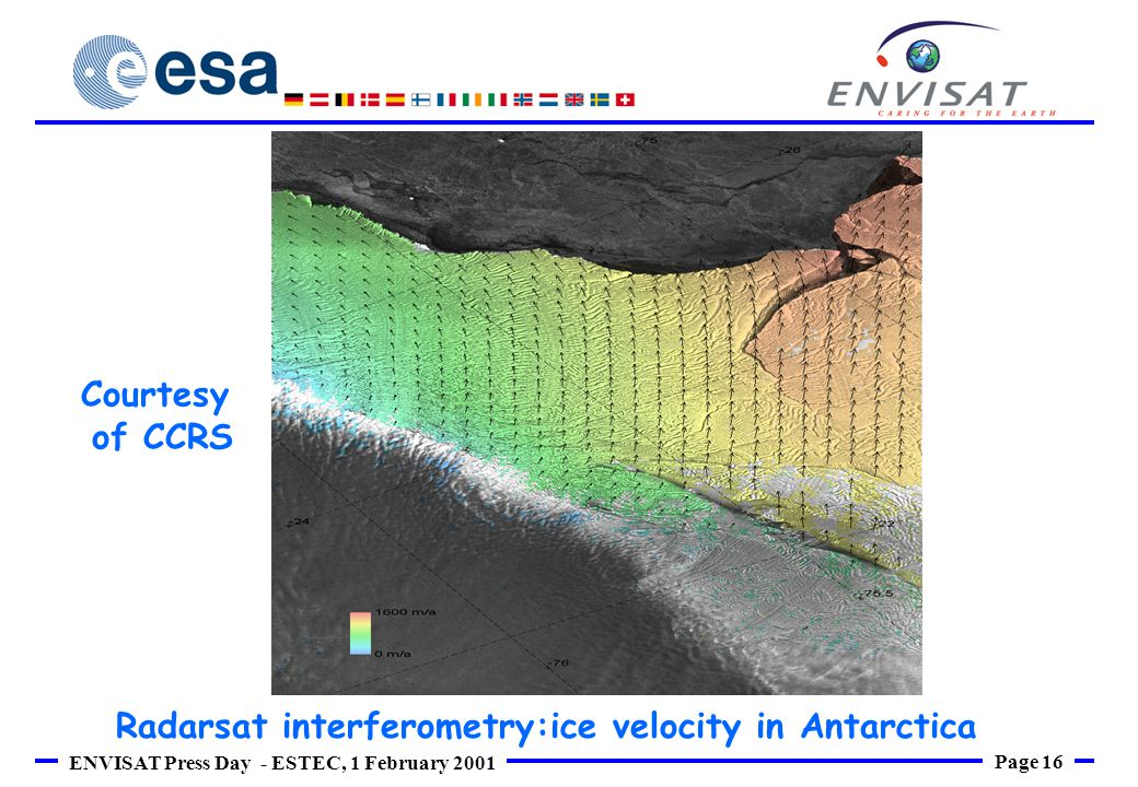 Page 16 ENVISAT Press Day - ESTEC, 1 February 2001 Courtesy of CCRS Radarsat interferometry:ice velocity in Antarctica