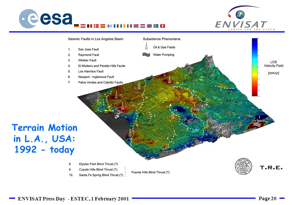 Page 20 ENVISAT Press Day - ESTEC, 1 February 2001 Terrain Motion in L.A., USA: 1992 - today