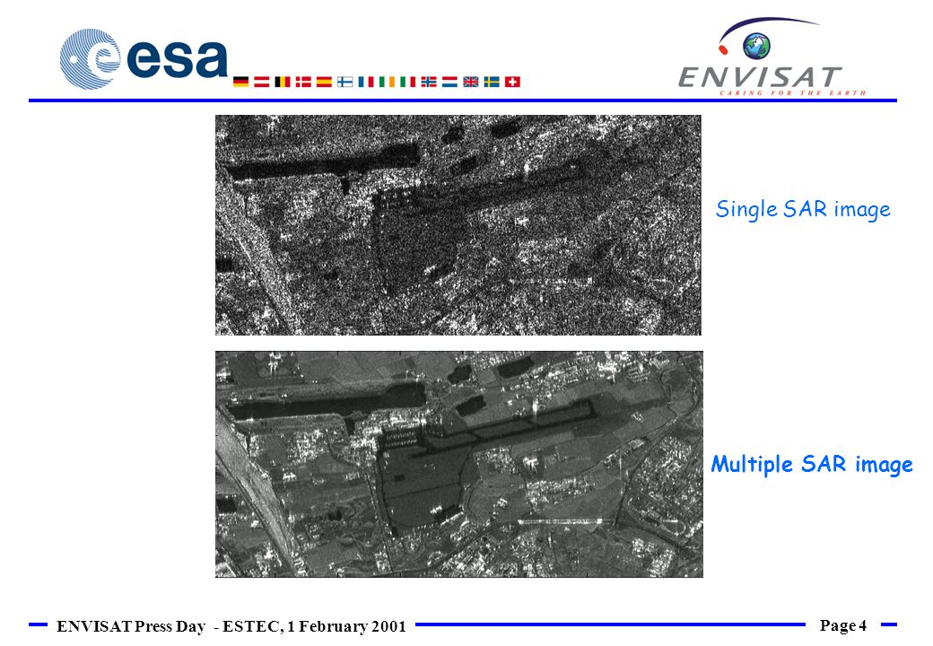 Page 4 ENVISAT Press Day - ESTEC, 1 February 2001 Single SAR image Multiple SAR image
