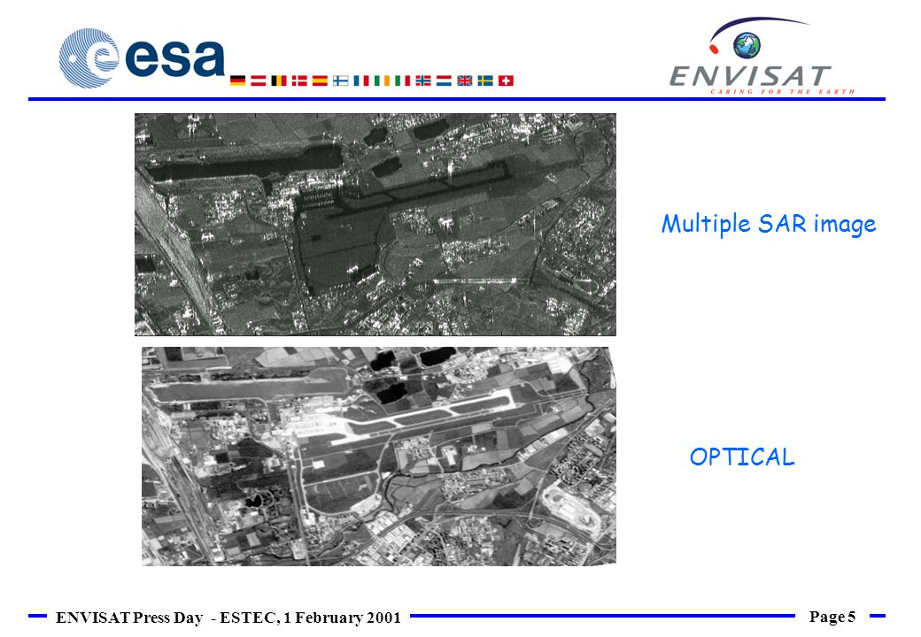 Page 5 ENVISAT Press Day - ESTEC, 1 February 2001 OPTICAL Multiple SAR image