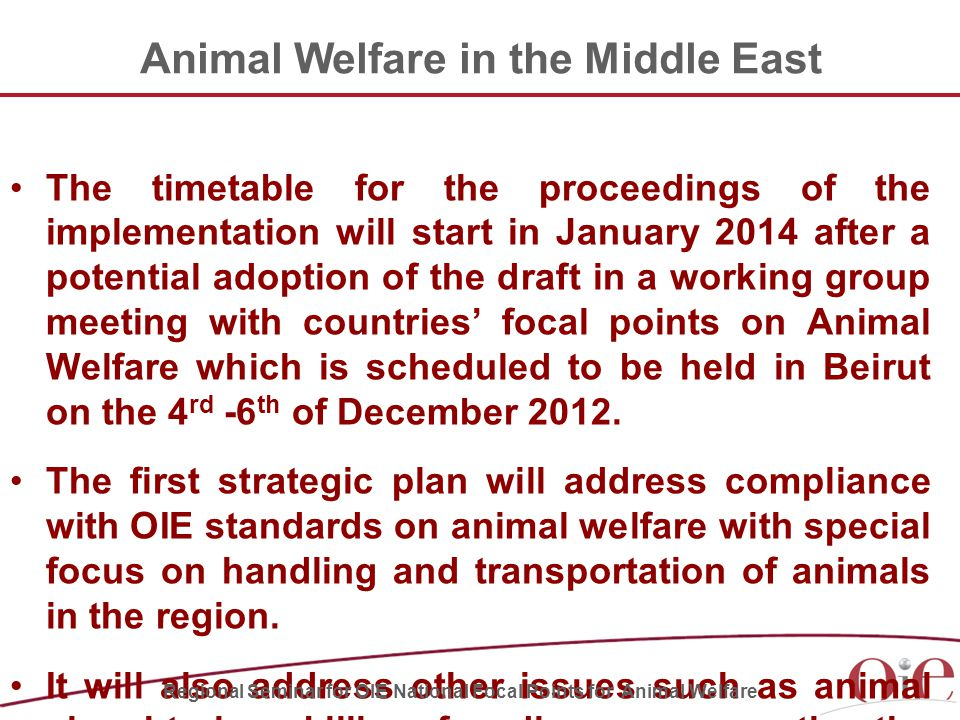 The timetable for the proceedings of the implementation will start in January 2014 after a potential adoption of the draft in a working group meeting with countries' focal points on Animal Welfare which is scheduled to be held in Beirut on the 4 rd -6 th of December 2012.