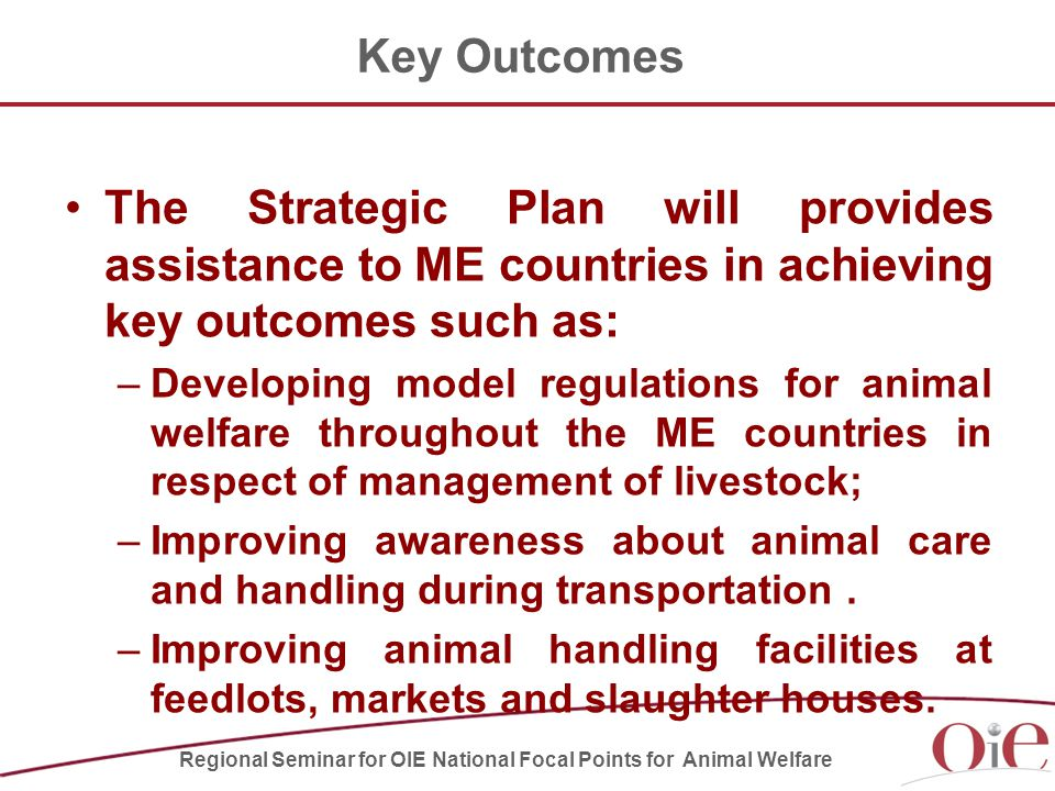 Key Outcomes The Strategic Plan will provides assistance to ME countries in achieving key outcomes such as: –Developing model regulations for animal welfare throughout the ME countries in respect of management of livestock; –Improving awareness about animal care and handling during transportation.