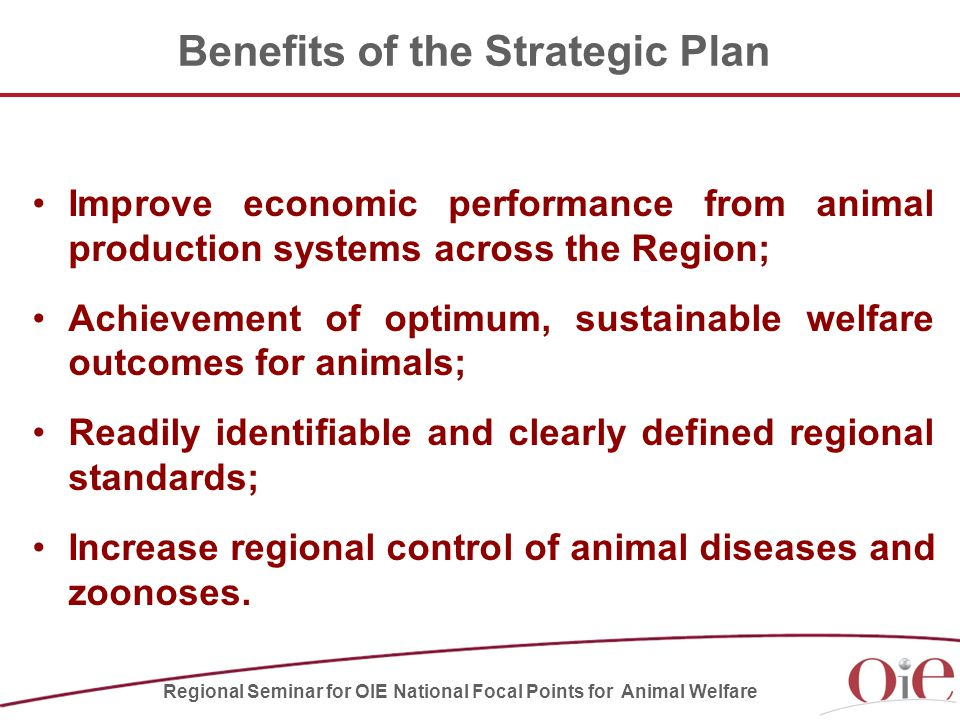 Benefits of the Strategic Plan Improve economic performance from animal production systems across the Region; Achievement of optimum, sustainable welfare outcomes for animals; Readily identifiable and clearly defined regional standards; Increase regional control of animal diseases and zoonoses.