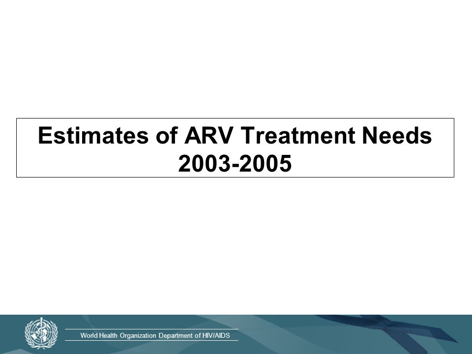 World Health Organization Department of HIV/AIDS Estimating treatment needs Sum of newly needing treatment and those on treatment already: –Newly needing treatment in 2003 = the projected number of deaths in year 2003 + the projected number of deaths of deaths in 2004 –Already on treatment at the beginning of 2003 with a survival rate of 80%