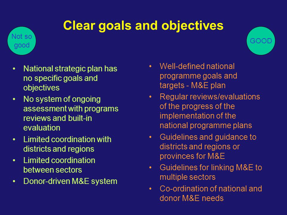Clear goals and objectives National strategic plan has no specific goals and objectives No system of ongoing assessment with programs reviews and buil