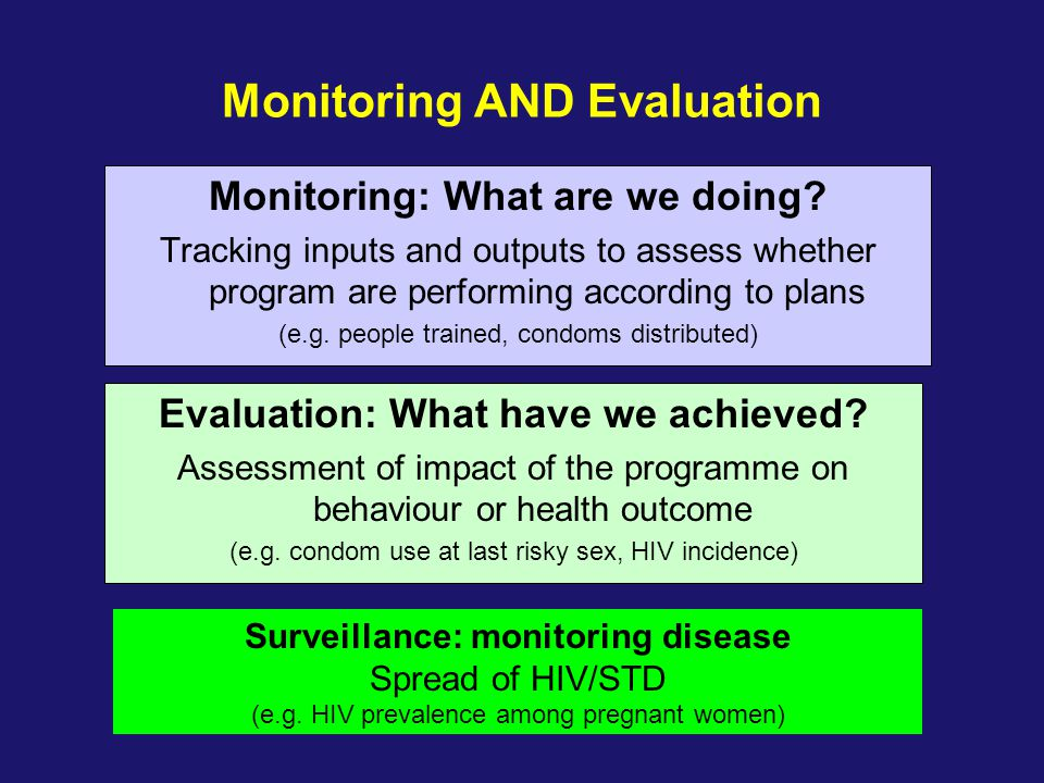 Monitoring AND Evaluation Monitoring: What are we doing? Tracking inputs and outputs to assess whether program are performing according to plans (e.g.