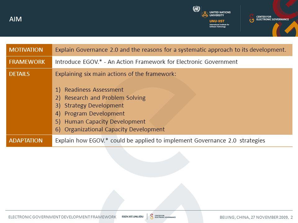WSIS FORUM 2010, GENEVA, 13 MAY 2010, 23EGOV.* - AN ACTION FRAMEWORK FOR GOVERNANCE 2.0 OVERVIEW 1 Governance 2.0 2 EGOV.* - Electronic Government Development Framework 3 Applying EGOV.* to Governance 2.0 4 Conclusions