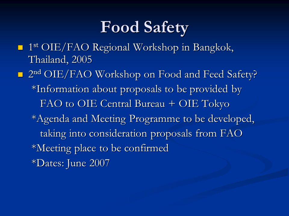 Food Safety 1 st OIE/FAO Regional Workshop in Bangkok, Thailand, 2005 1 st OIE/FAO Regional Workshop in Bangkok, Thailand, 2005 2 nd OIE/FAO Workshop