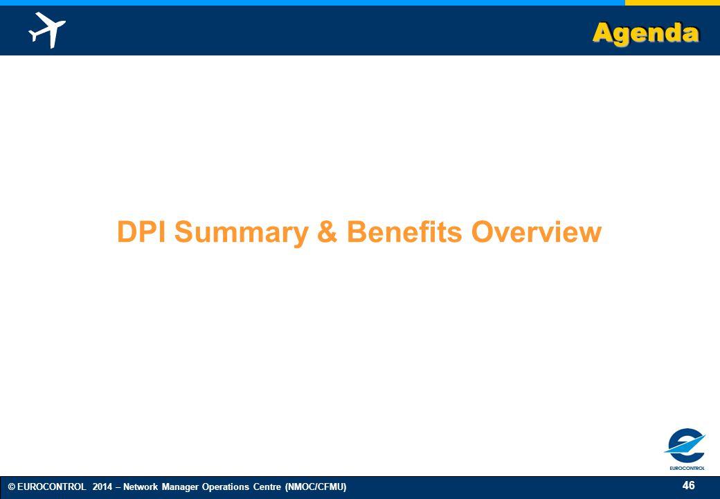 46 © EUROCONTROL 2014 – Network Manager Operations Centre (NMOC/CFMU) AgendaAgenda DPI Summary & Benefits Overview