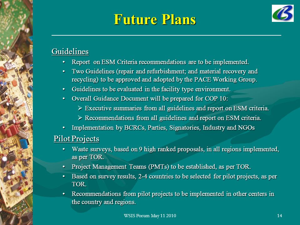 Future Plans 14 Guidelines Guidelines Report on ESM Criteria recommendations are to be implemented.