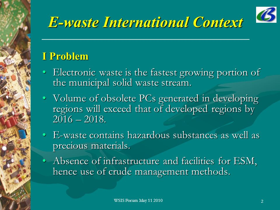 2 E-waste International Context I Problem Electronic waste is the fastest growing portion of the municipal solid waste stream.Electronic waste is the fastest growing portion of the municipal solid waste stream.