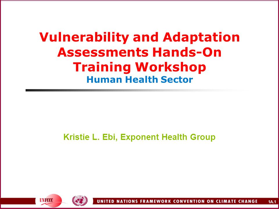 1A.1 Vulnerability and Adaptation Assessments Hands-On Training Workshop Human Health Sector Kristie L.