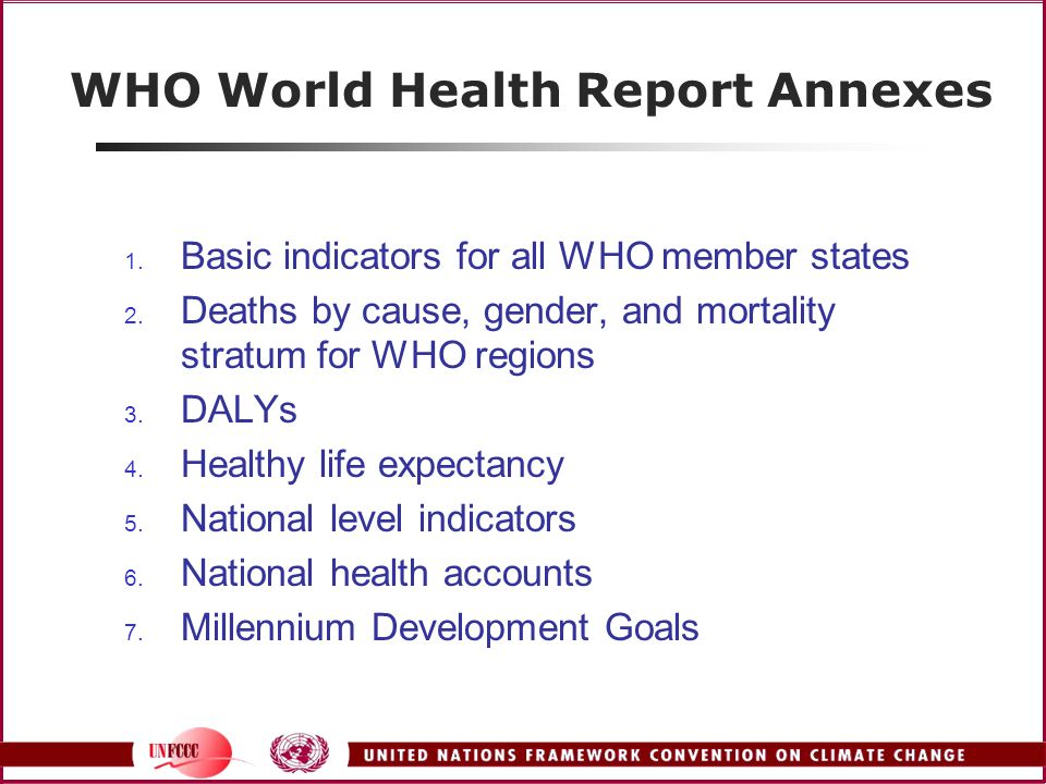 WHO World Health Report Annexes 1. Basic indicators for all WHO member states 2.
