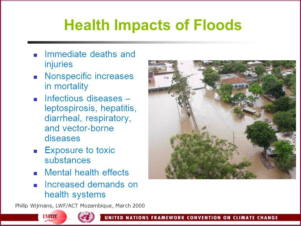 Health Impacts of Floods Immediate deaths and injuries Nonspecific increases in mortality Infectious diseases – leptospirosis, hepatitis, diarrheal, r
