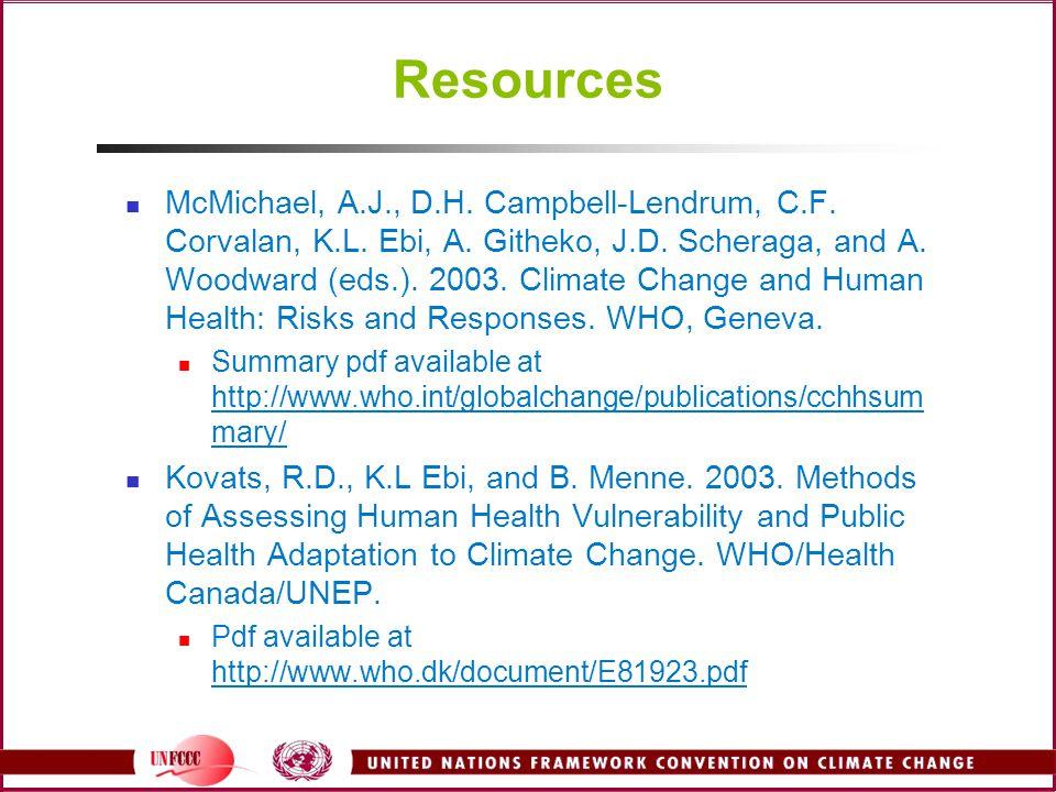 Resources McMichael, A.J., D.H. Campbell-Lendrum, C.F. Corvalan, K.L. Ebi, A. Githeko, J.D. Scheraga, and A. Woodward (eds.). 2003. Climate Change and