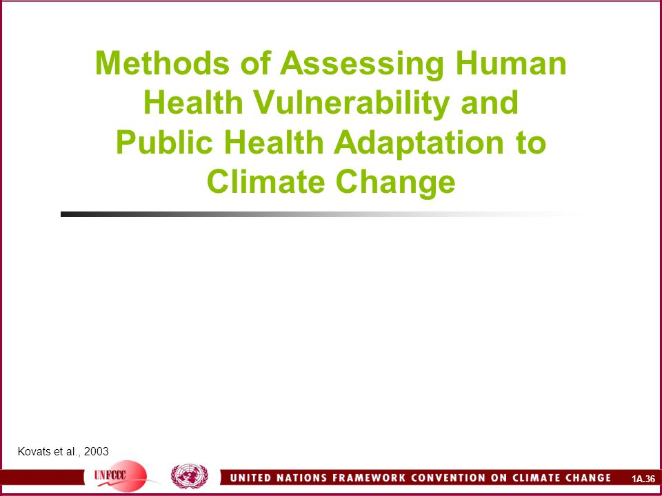 1A.36 Methods of Assessing Human Health Vulnerability and Public Health Adaptation to Climate Change Kovats et al., 2003