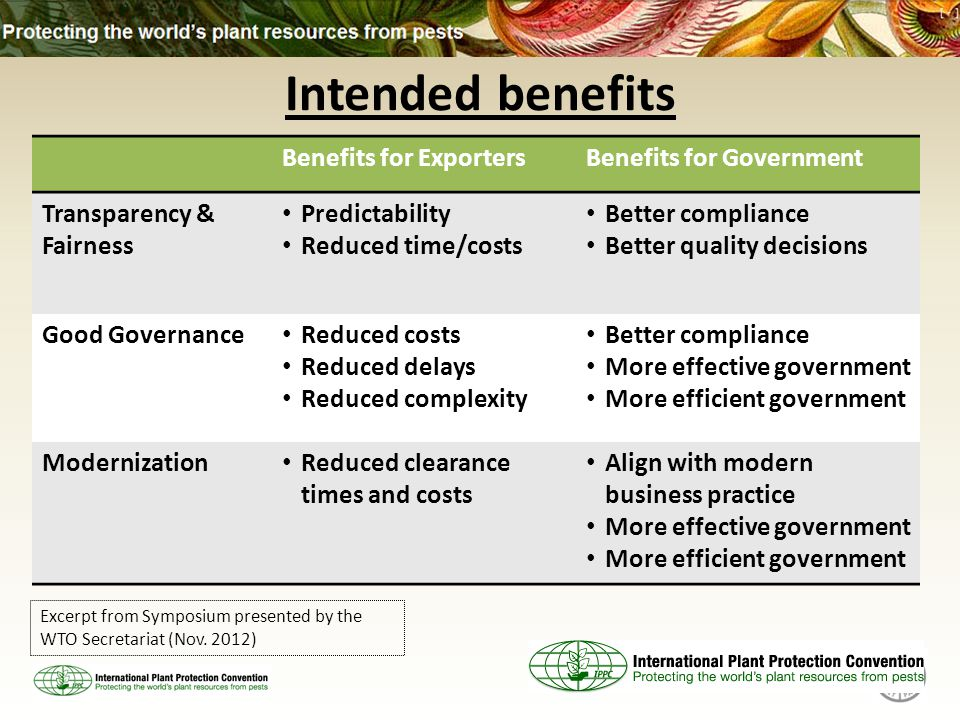 Intended benefits Benefits for ExportersBenefits for Government Transparency & Fairness Predictability Reduced time/costs Better compliance Better quality decisions Good Governance Reduced costs Reduced delays Reduced complexity Better compliance More effective government More efficient government Modernization Reduced clearance times and costs Align with modern business practice More effective government More efficient government Excerpt from Symposium presented by the WTO Secretariat (Nov.