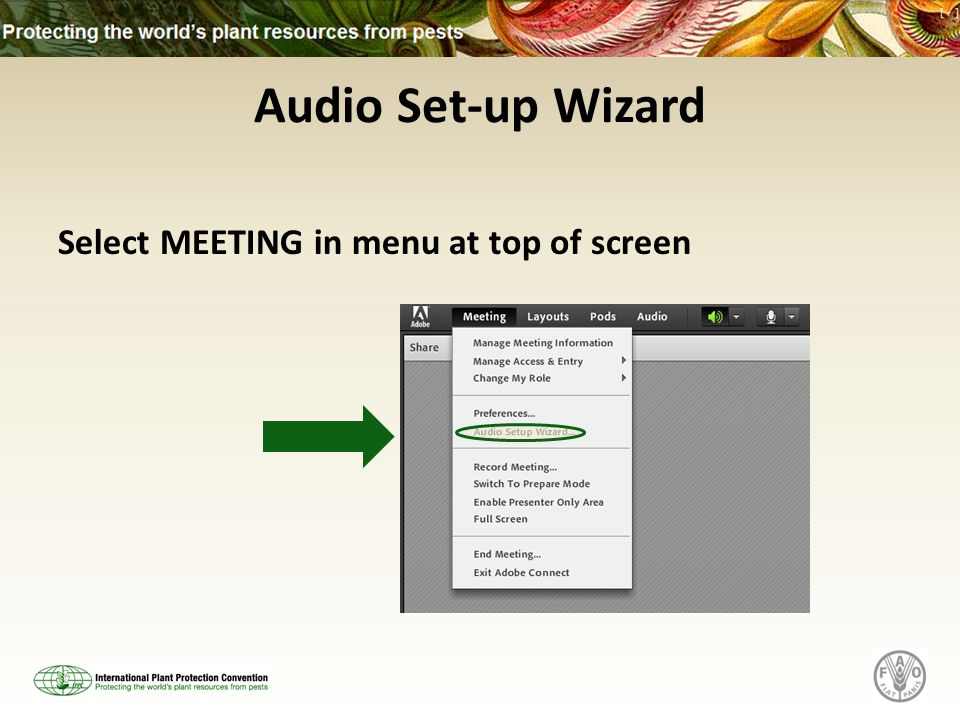 Audio Set-up Wizard Select MEETING in menu at top of screen