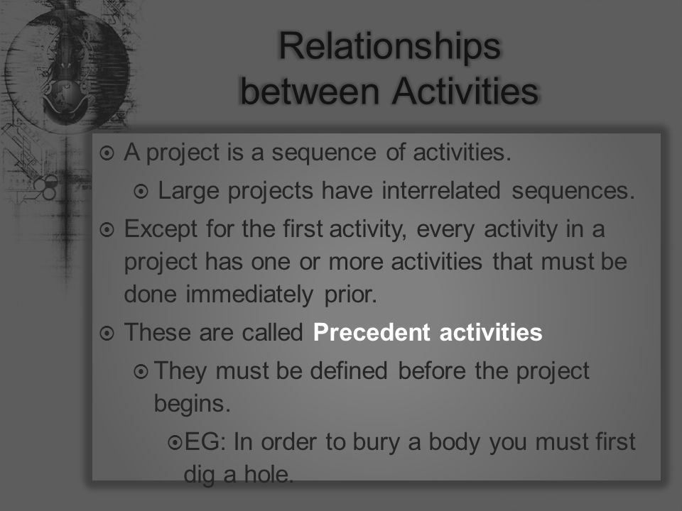  A project is a sequence of activities.  Large projects have interrelated sequences.