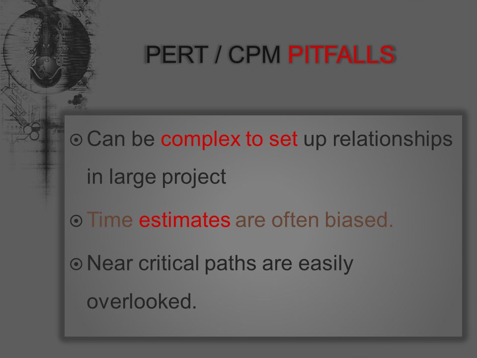  Can be complex to set up relationships in large project  Time estimates are often biased.