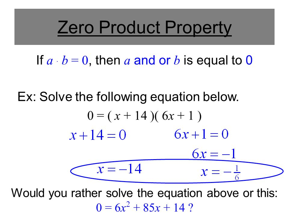 Zero Product Property If a. b = 0, then a and or b is equal to 0 Ex: Solve the following equation below. 0 = ( x + 14 )( 6x + 1 ) Would you rather sol