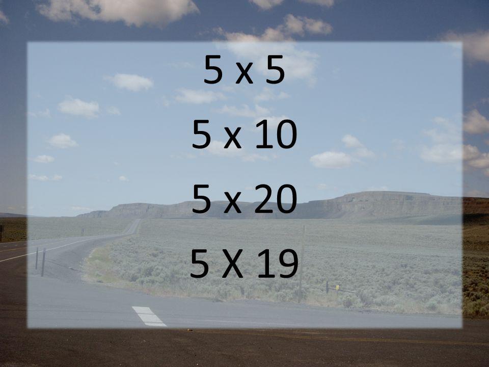 5 x 5 5 x 10 5 x 20 5 X 19