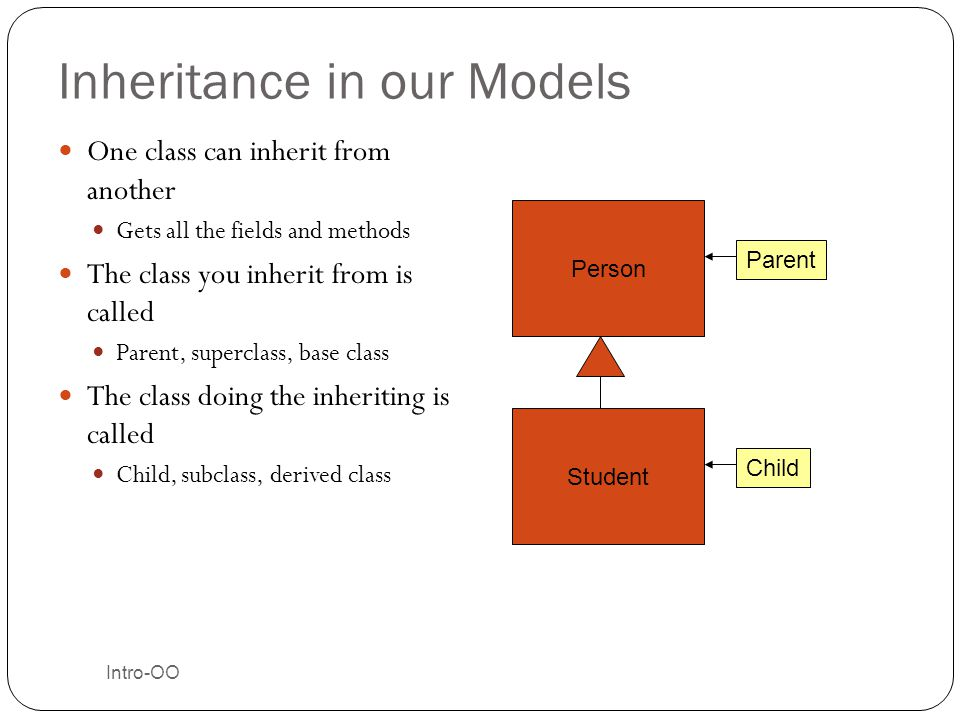 Intro-OO Inheritance in our Models One class can inherit from another Gets all the fields and methods The class you inherit from is called Parent, sup