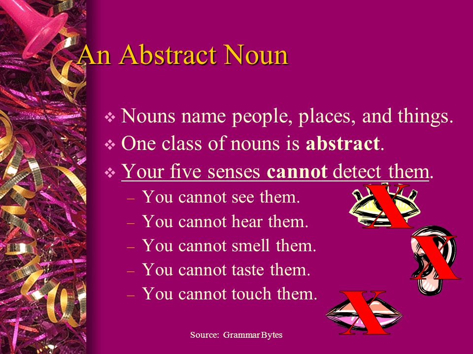 An Abstract Noun  Nouns name people, places, and things.