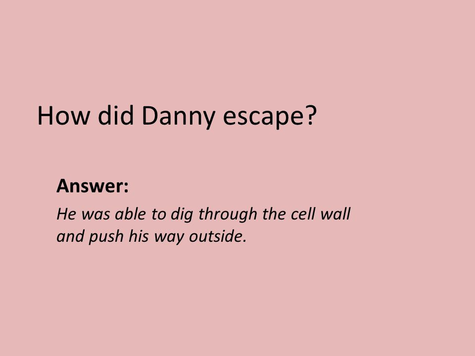 How did Danny escape? Answer: He was able to dig through the cell wall and push his way outside.