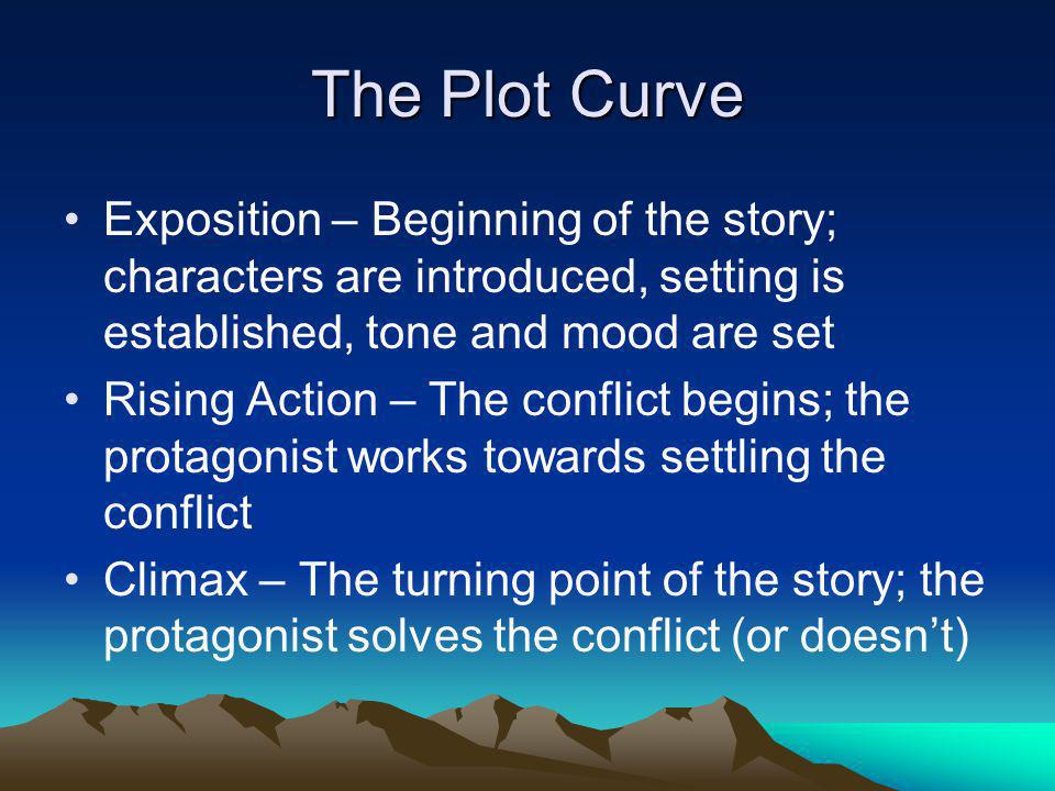 Plot Curve, continued Falling Action – The specifics of the climax play out; what happens as a result of the climax Resolution – Loose ends are wrapped up; the reader sees the new and changed protagonist; life goes on