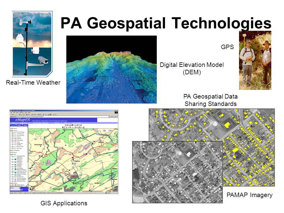 PA Geospatial Technologies Real-Time Weather Digital Elevation Model (DEM) GIS Applications PA Geospatial Data Sharing Standards PAMAP Imagery GPS
