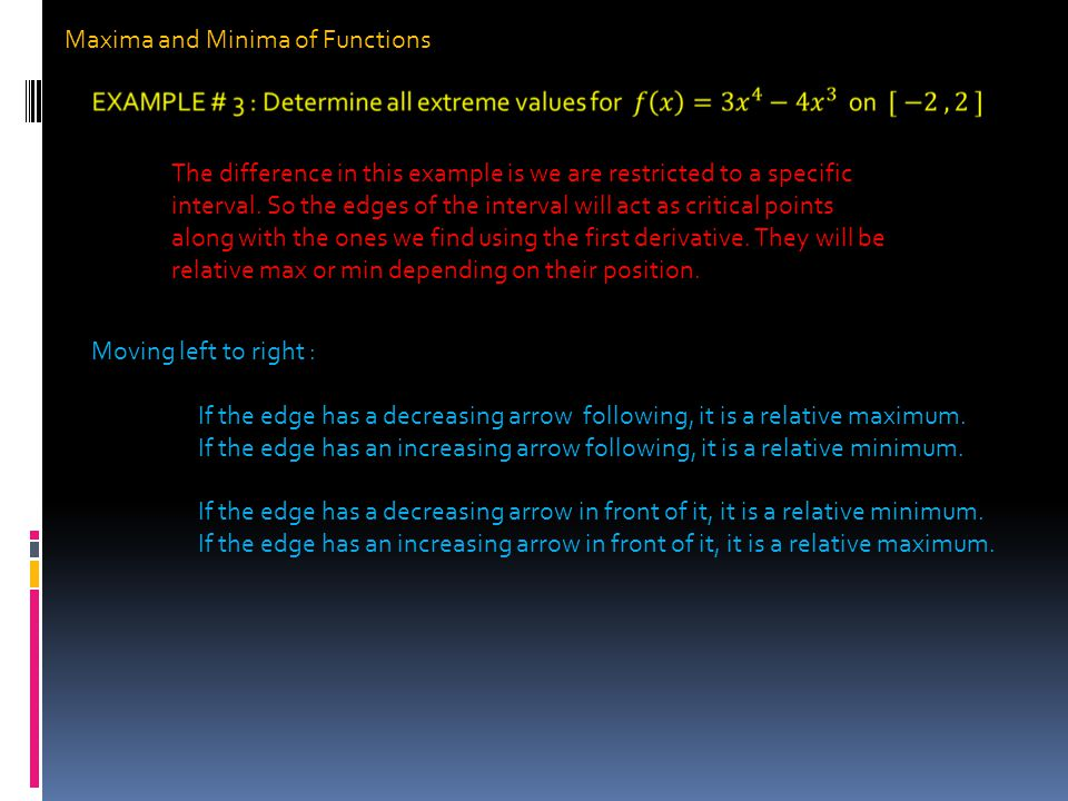 Maxima and Minima of Functions The difference in this example is we are restricted to a specific interval.