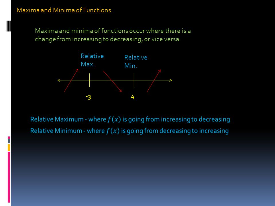 Maxima and Minima of Functions Maxima and minima of functions occur where there is a change from increasing to decreasing, or vice versa.