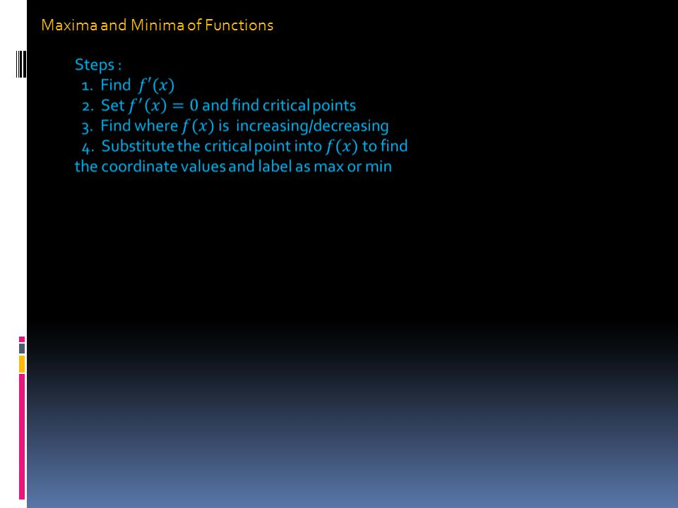 Maxima and Minima of Functions