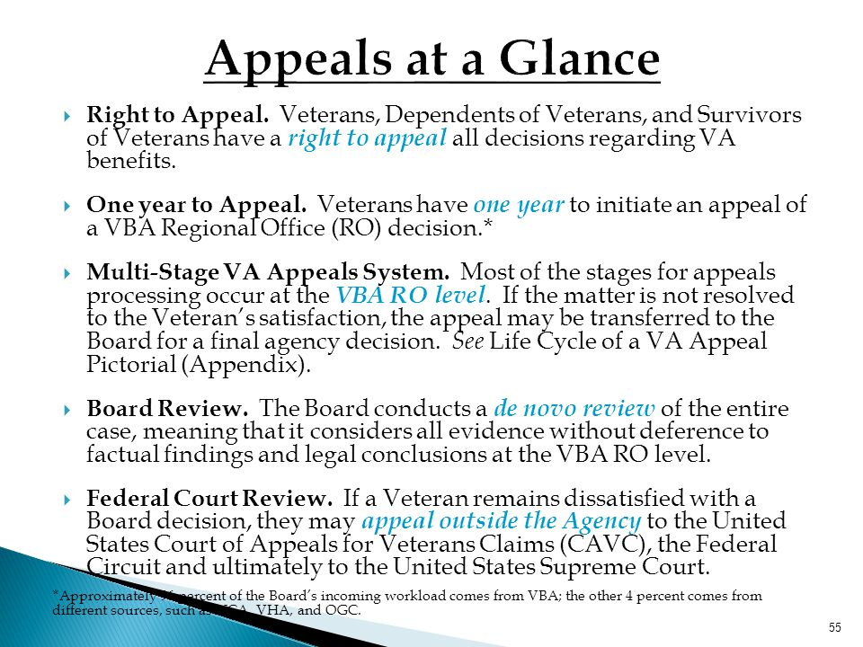 "54 Board of Veterans' Appeals (BVA or Board) Mission ""... to conduct hearings and dispose of appeals properly before the Board in a timely manner."" 38"