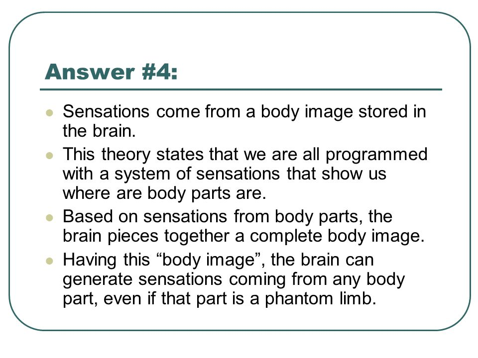 Answer #4: Sensations come from a body image stored in the brain.
