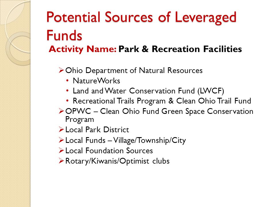 Potential Sources of Leveraged Funds Activity Name: Park & Recreation Facilities  Ohio Department of Natural Resources NatureWorks Land and Water Con