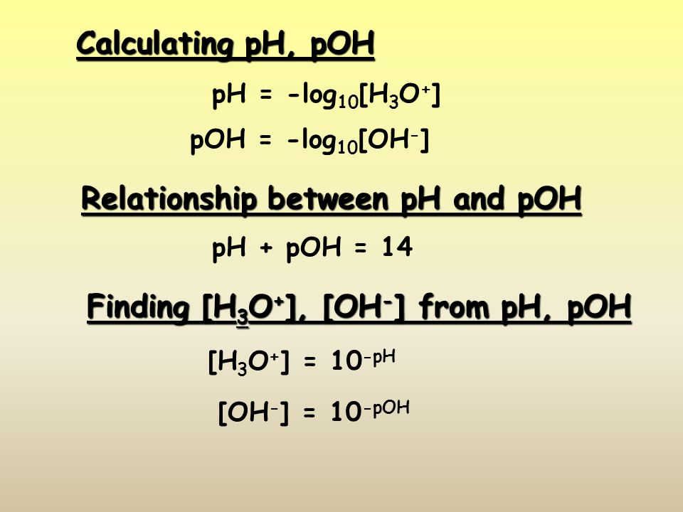 Calculating pH, pOH pH = -log 10 [H 3 O + ] pOH = -log 10 [OH - ] Relationship between pH and pOH pH + pOH = 14 Finding [H 3 O + ], [OH - ] from pH, pOH [H 3 O + ] = 10 -pH [OH - ] = 10 -pOH