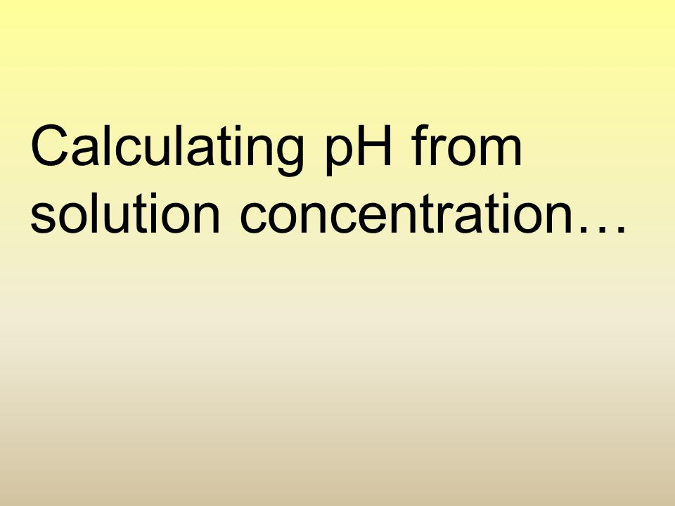 Calculating pH from solution concentration…
