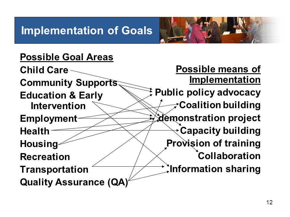 12 Implementation of Goals Possible Goal Areas Child Care Community Supports Education & Early Intervention Employment Health Housing Recreation Transportation Quality Assurance (QA) Possible means of Implementation Public policy advocacy Coalition building demonstration project Capacity building Provision of training Collaboration Information sharing